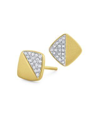 14K YELLOW GOLD DIAMOND PAVÉ SQUARE STUD EARRINGS