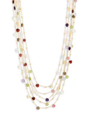 GOLD-PLATED MULTI-STONE FIVE-STRAND NECKLACE