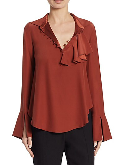 0183e692fadc33 Cinq à Sept Norla Ruffle Silk Blouse on sale at Saks Off 5th for ...