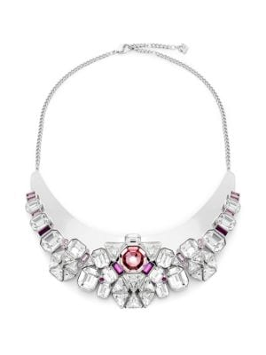 CLEAR & PINK CRYSTAL BIB NECKLACE