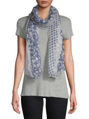 Torn Floral and Textile Scarf