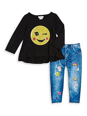 Little Girl's Emoji Tee and Leggings Set