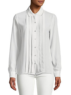 Aliza Pleated Button Front Blouse