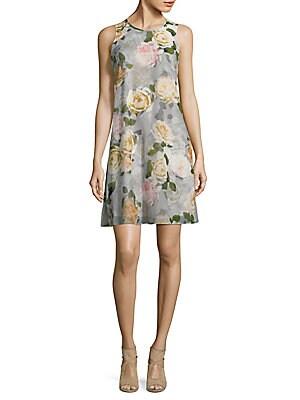 ??loral-Print Chiffon Trapeze Dress