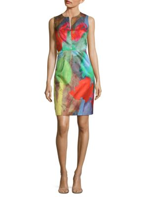 Notch Print Sheath Dress