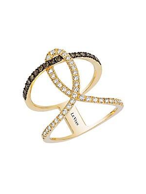 Chocolate and Vanilla Diamonds and 14K Honey Gold Neo Geo Ring