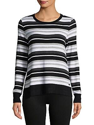 Multicolored Stripe Hi-Lo Pullover
