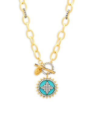TURQUOISE, CRYSTAL AND STERLING SILVER WHEEL CAFE PENDANT NECKLACE