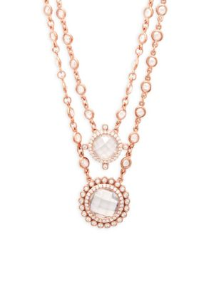 CRYSTAL DOUBLE LAYER PENDANT NECKLACE
