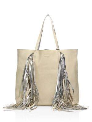 Everyday Shopper Leather Fringed Tote