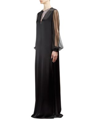 Embellished Blouson-Sleeve Gown