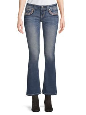EMBROIDERY KICK-FLARE JEANS