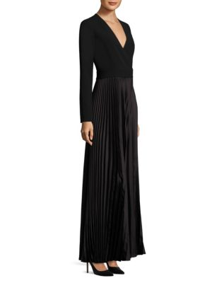 Long-Sleeve Pleated Wrap Gown