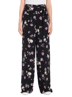 Flowers Fall Silk Wide-Leg Pants