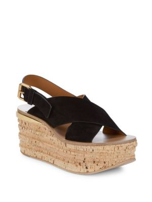 CRISSCROSS LEATHER PLATFORM SANDALS