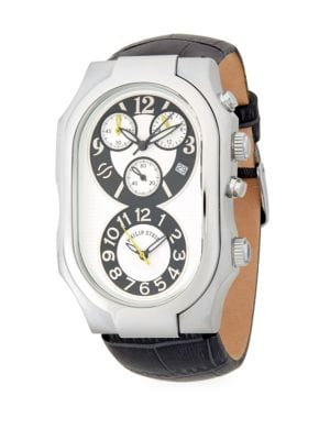 OVAL STAINLESS STEEL CHRONOGRAPH LEATHER STRAP WATCH
