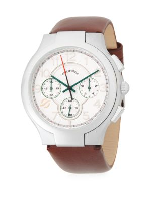 CLASSIC STAINLESS STEEL CHRONOGRAPH LEATHER-STRAP WATCH
