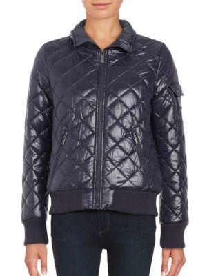 Quilted Zip-Front Coat