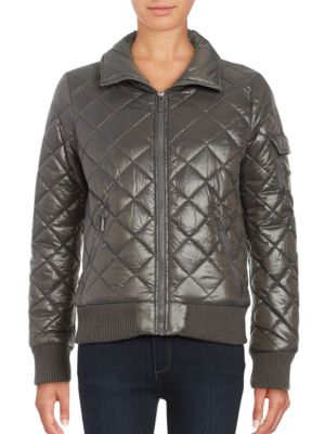 Quilted Zip-Front Coat