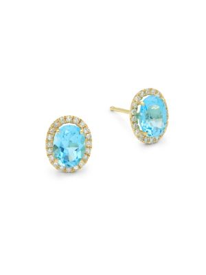 BLUE TOPAZ, DIAMOND AND 14K YELLOW GOLD STUD EARRINGS