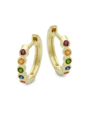 RAINBOW MULTI-STONE & 14K YELLOW GOLD HOOP EARRINGS