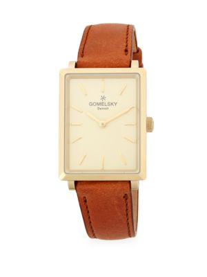 RECTANGLE LEATHER-STRAP WATCH
