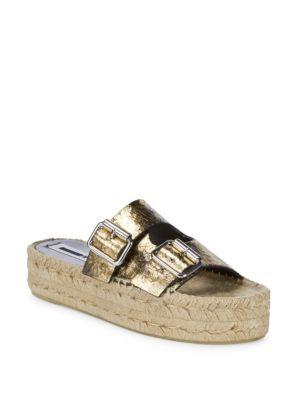 Textured Leather Flatform Sandals