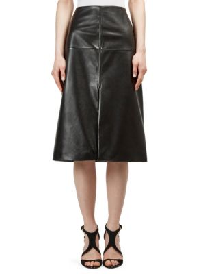 Seamed Leather Skirt