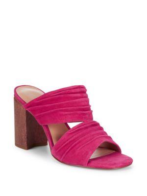 Block Heel Leather Mule Sandals