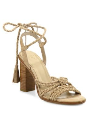 Banji Lace-Up Suede Block Heel Sandals