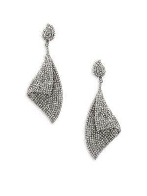 CHAMPAGNE DIAMOND AND STERLING SILVER STATEMENT EARRINGS