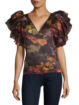 Dust Ruffle Silk Top