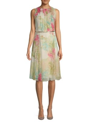 Condor Floral-Print Belted Silk Dress