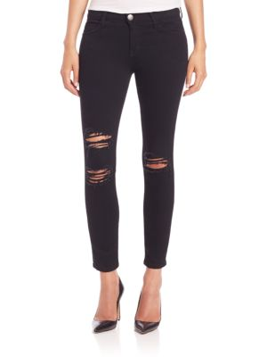 The Distressed Stilletto Skinny Jeans With Raw Hem