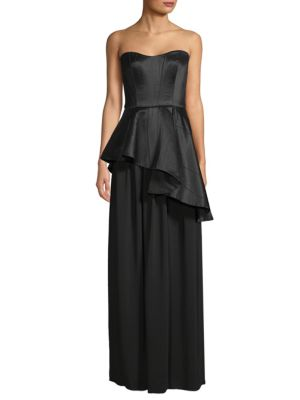 Asymmetric Peplum Gown