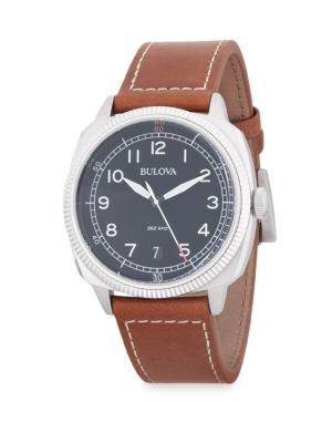 STAINLESS STEEL ANALOG LEATHER-STRAP WATCH