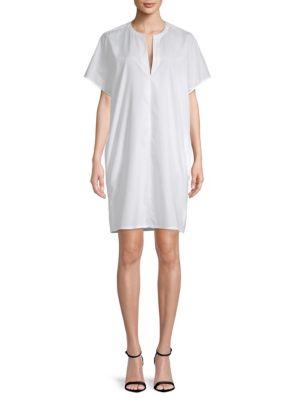 SPLIT-NECK COTTON POPLIN POPOVER DRESS
