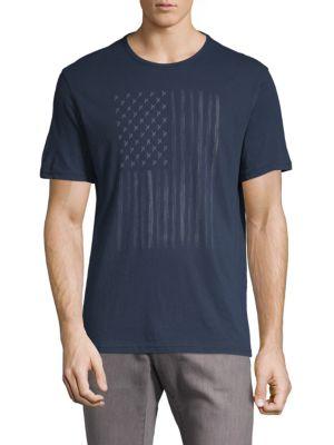 Zipper Star Stud Flag Graphic Cotton Tee