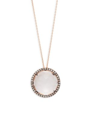 14K ROSE GOLD QUARTZ & WHITE SAPPHIRES CIRCLE PENDANT NECKLACE