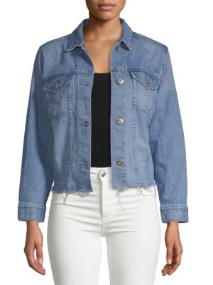 WOMAN DISTRESSED DENIM JACKET MID DENIM