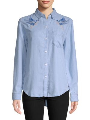 Embroidered Birds Button-Front Shirt