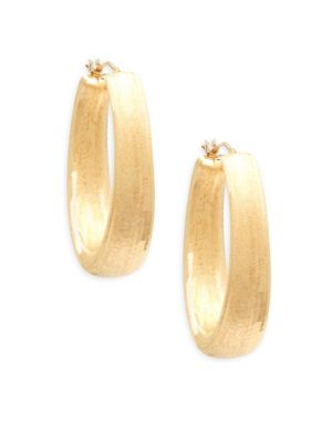 Made In Italy 14K Yellow Gold Oval Hoop Earrings