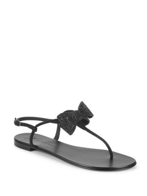 Bow Leather Thong Sandals