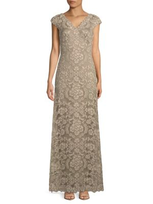 Embroidered V-Neck Gown