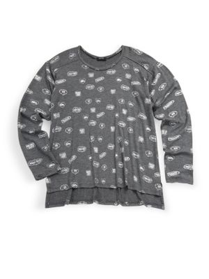 Girl'S Pullover Graphic-Print Tee in Charcoal