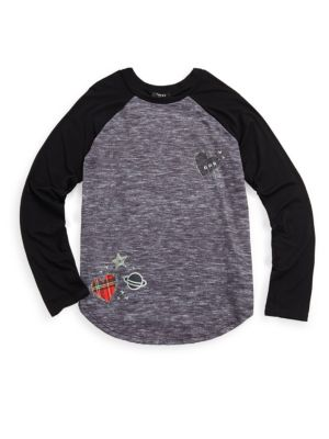 Girl'S Lil Patches Raglan Tee in Grey