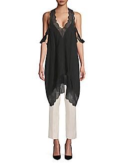 쟈딕앤볼테르 튜닉 Zadig & Voltaire Tavi Lace-Trimmed Silk-Blend Tunic,Black