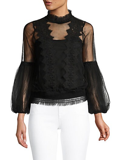 a5f3f35ad85319 Allison New York Sheer Lace Blouse on sale at Saks Off 5th for ...