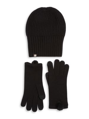 Ugg Two Piece Rib Knit Hat And Faux Fur Pom Gloves Set In Black