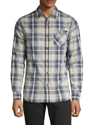 FLAG & ANTHEM Tateville Plaid Shirt in Teal Combo